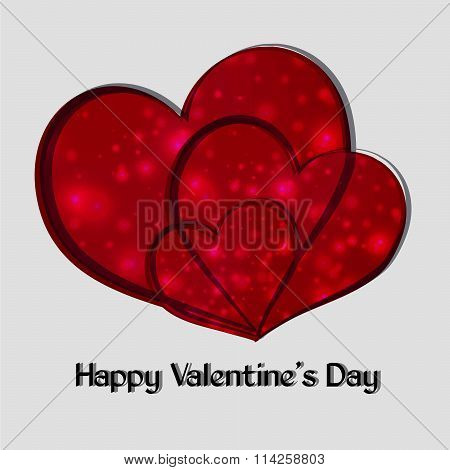 Happy Valentine's Day. Three Red Heart