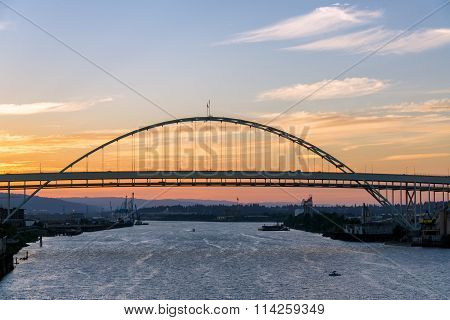 Fremont Bridge At Sunset