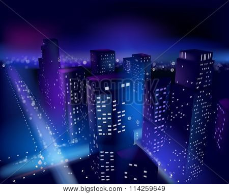 Town at night. Vector illustration