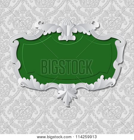 Vintage paper background and frame with green inside