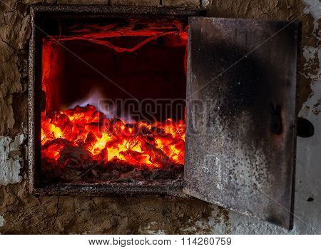 the old Russian oven smolder coals