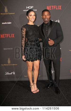 BEVERLY HILLS, CA - JAN. 10: Corrine Foxx and Jamie Foxx arrives at the Weinstein Company and Netflix 2016 Golden Globes After Party, Jan.10, 2016 at the Beverly Hilton Hotel in Beverly Hills, CA.