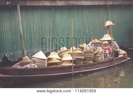Damnoen Saduak Floating Market Near Bangkok In Thailand