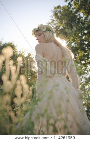blonde young woman in elegant dress, bare back, profile, wreath of flowers in hair, summer day in field