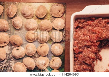 Russian dumplings made by hands and forcemeat.