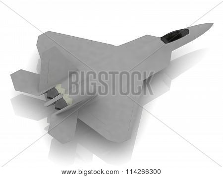 3D Rendering illustration Military army jet airplane with bomb during airshow on white background