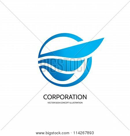 Abstract wing - vector logo concept illustration. Abstract wing sign. Abstract aircraft sign.
