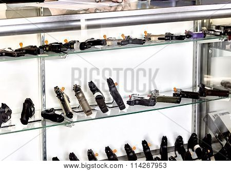 Gun Showcase in Retail Store