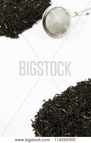Loose Leaf Black Tea And Strainer With Copy Space