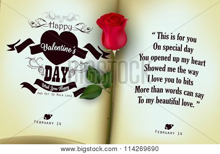 Red rose with open of diary background