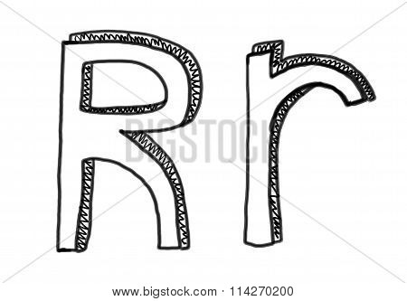 New Drawing Character R Of Alphabet.