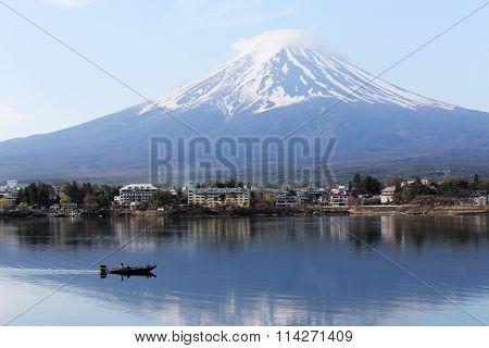 Mount Fuji In Kawaguchiko Lake And Fishing Boat.
