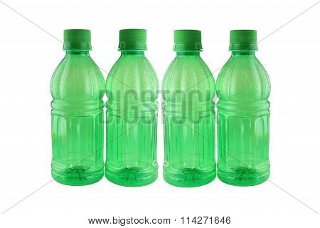 Green Of Bottle Drink Isolated On White.
