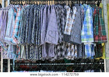 Clothes Fashion Is Hanging Clothesline In Shop Wear.