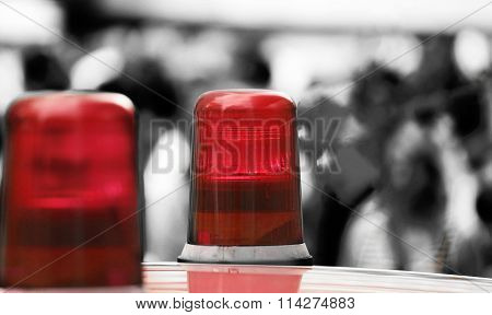 Red Lights Of A Police Car In The Big City