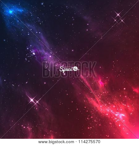 Vector space galaxy background. Colourful violet-red nebulae with bright stars.