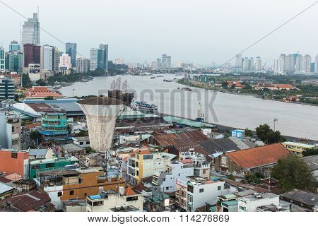 HO CHI MINH CITY, VIETNAM - JAN 12, 2016: Top view of Ho Chi Minh City. From 1887 to 1901 - Ho Chi Minh City was the capital of French Indochina, from 1955 - 1975 the capital of South Vietnam (Saigon)