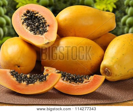 Fresh Cut Juicy Tropical Papaya Mamao Fruit With Seeds At Brazilian