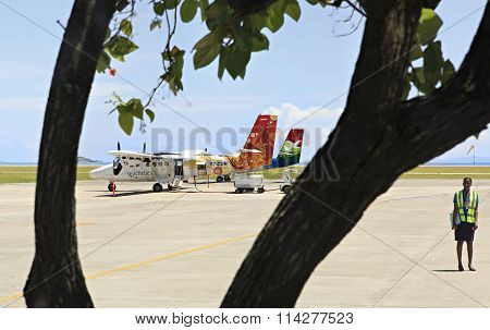 Planes local airlines at Seychelles International Airport on Mahe Island.