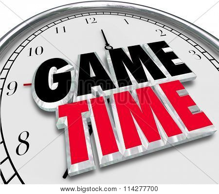Game Time words in 3d letters on a clock face to illustrate playing, enjoyment and having fun at an event with family and friends