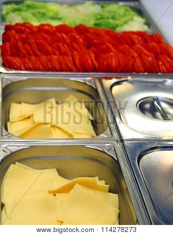 Steel Tray Canteen With Sliced Cheese Tomato And Fresh Lettuce