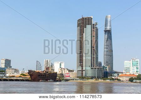HO CHI MINH CITY, VIETNAM - JAN 11, 2016: Views of the city from the Saigon River. Saigon River (the length of 256 kilometers) is most important to Ho Chi Minh City as it is the main water supply.