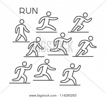 Line Silhouette Runners. Vector Figures Athletes. Linear Running