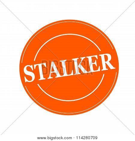 Stalker White Stamp Text On Circle On Orage Background
