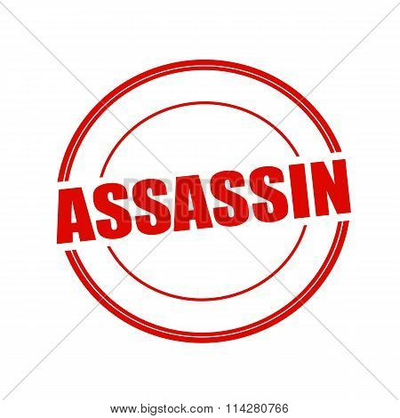 Assassin Red Stamp Text On Circle On White Background