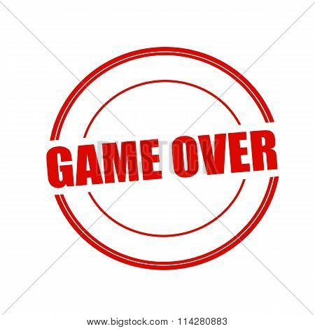 Game Over Red Stamp Text On Circle On White Background