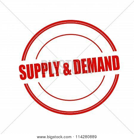Supply And Demand Red Stamp Text On Circle On White Background