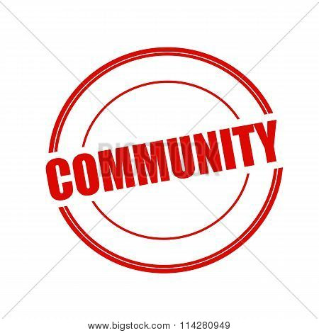 Community Red Stamp Text On Circle On White Background