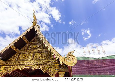 Chapel In Thai Temple, Lanna Style In Chiangmai