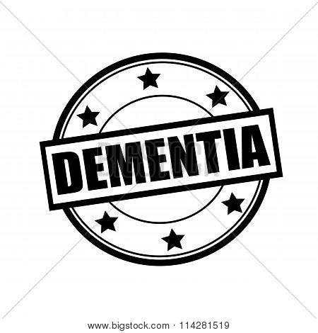 Dementia Black Stamp Text On Circle On White Background And Star