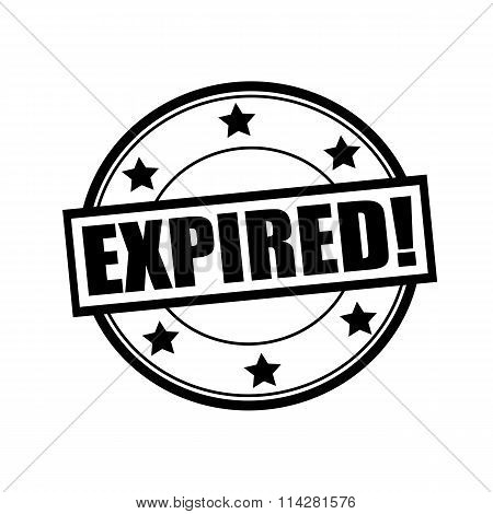 Expired Black Stamp Text On Circle On White Background And Star