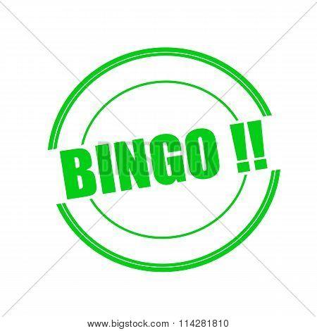 Bingo Green Stamp Text On Circle On White Background