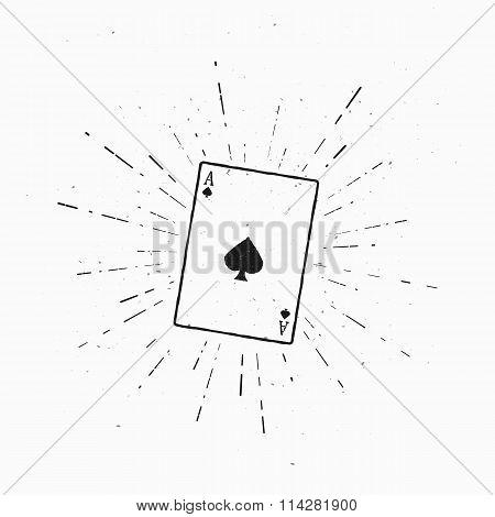 Vintage Ace of spades. Vector illustration with sunburst element.