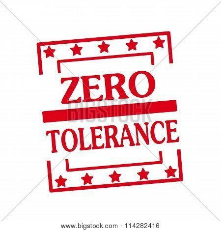 Zero Tolerance Red Stamp Text On Squares On White Background