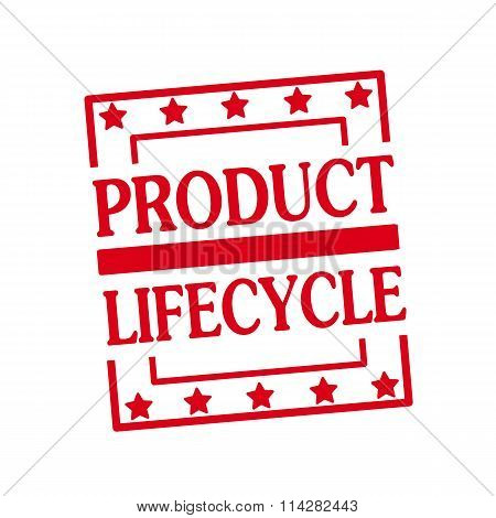 Product Lifecycle Red Stamp Text On Squares On White Background
