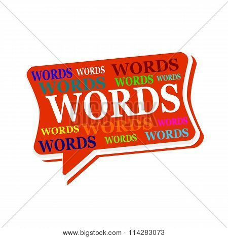 Words Multicolored Word On Red Speech Bubbles