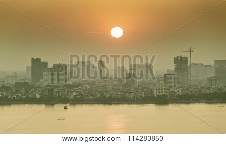Sunset on West Lake, Hanoi, Vietnam