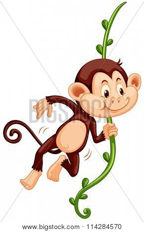Cute monkey climbing up the vine illustration