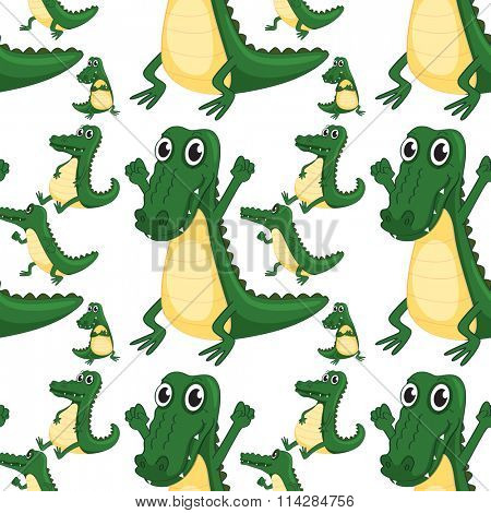 Seamless green aligators smiling illustration