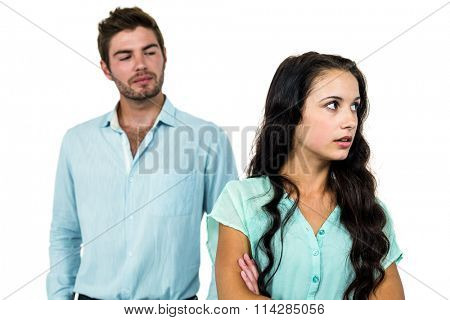 Couple having argument over white background