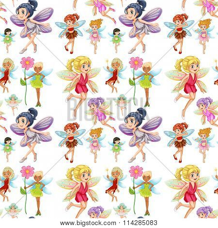 Seamless cute fairies flying  illustration