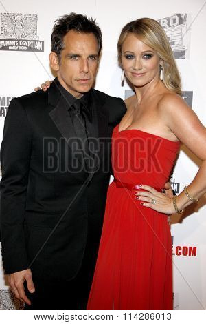 Ben Stiller and Christine Taylor at the 26th American Cinematheque Award Honoring Ben Stiller held at the Beverly Hilton Hotel in Los Angeles, California, United States on November 15, 2012.