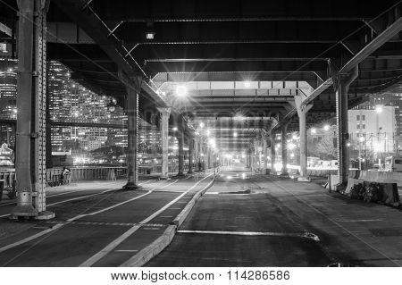 Metal pillars of the bridge in New York