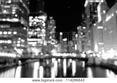 defocused lights of Chicago downtown at night