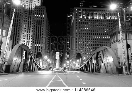 One of bridge in downtown of Chicago
