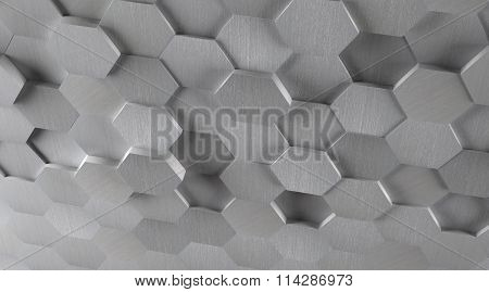 3D Hexagonal Metal Tile Background